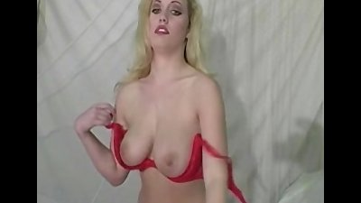 Busty Cheri striptease and show her pussy