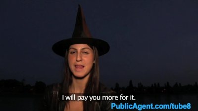 PublicAgent Halloween witch gets fucked behind a tree in POV