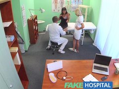 Fake Hospital Busty beautiful patient has her big breasts oiled and examine