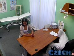 Czech Patients bad back doesn t stop the doctor bending her over the table