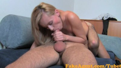 FakeAgent Foxy blonde student with slim body takes anal creampie