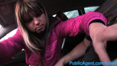 PublicAgent Tiny Russian bent over and fucked in a car