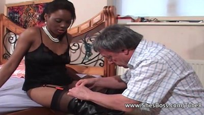 Faceful of ebony pussy for older white gent