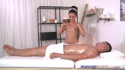 Massage Rooms Brunettes shaven tight hole is fucked hard and deep by stud
