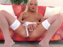 Veronika fingering in white stockings and panties