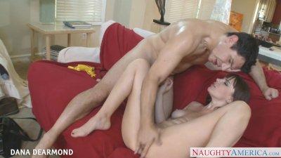 Tattooed Diana Dearmond gets pussy licked upskirt