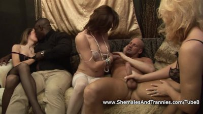 Three shemales fucking with two guys