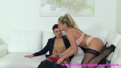 FemaleAgent MILF fixes studs broken heart with her tongue and tight pussy