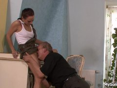 Father in law licks and fucks son s girl