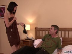 Cute brunette GF cheats with father in law