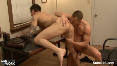 Tattooed gay gets ass licked and fucked in the office