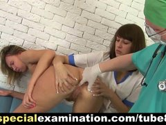 2 nasty doctors and shy young lady