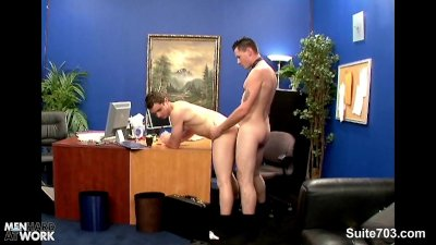 Excited gays banging in the office at work