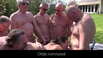 Young babe and 8 old men sex in an incendiary barbecue gangbang
