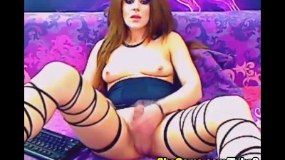 Busty Big Cock Shemale Masturbation