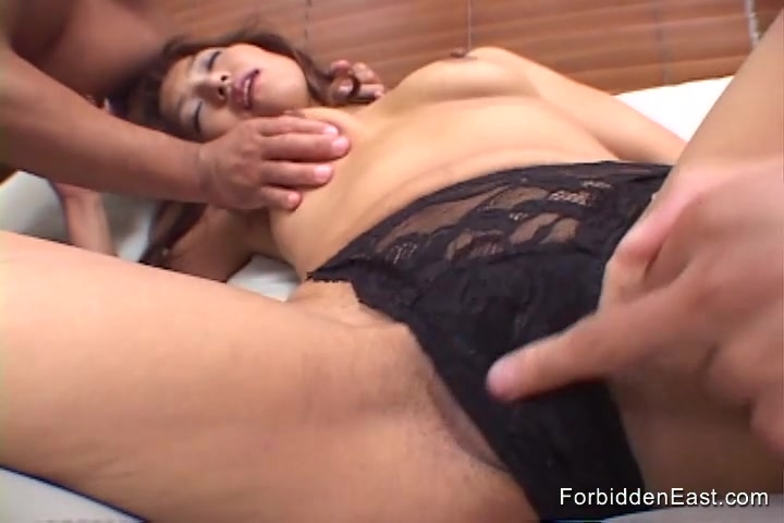 Asian beauty gets finger fucked and teased by two guys