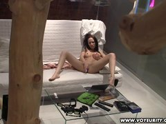 Hot teen babe voyeur masturbation on her sofa