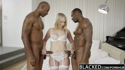 ebonyED Beautiful Blonde Dakota James Screams With 2 Big ebony Cocks