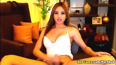 Busty Shemale Live Cam Masturbation