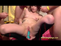 Red head loves getting dongs in her holes