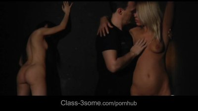 Miho and Nikky dirty threesome in semi obscure chamber