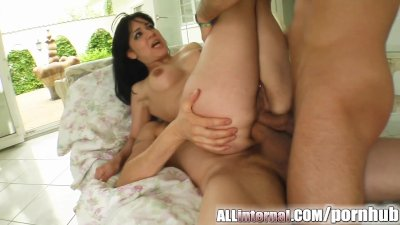 All Internal Shannya's ass rocked by two cocks and filled up