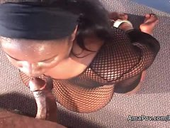 Big boobed bbw ebony sucks my cock