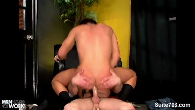 Horny gays having sex in the office at work