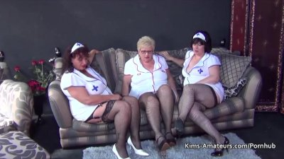 Three bbw grannies in nurses outfits