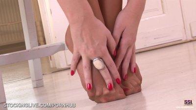 Extremely hot foot fetish masturbation in tan stockings