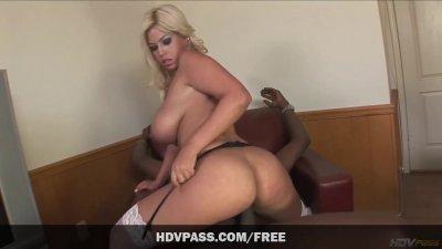 Bridgette B sucks a huge black cock before getting her juicy pussy stretche