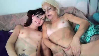 Very old granny woman and young horny girl