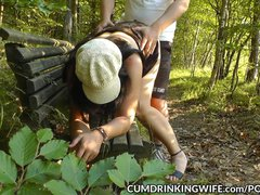 Slutwife Marion loves being a public cum dump