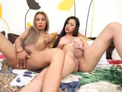 Shemale Jessi Dubai sucks the cock of another Hot Tranny