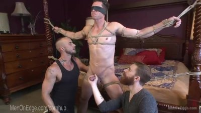Bound Hunk Cums On His Own Face