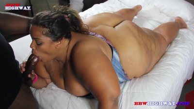 Huge booty ssbbw sucking big black cocks in the hood