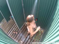 Chubby Girl Catched in Public Shower