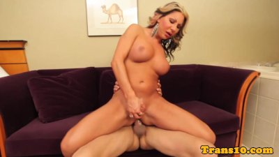 Busty transsexual cockriding lucky man