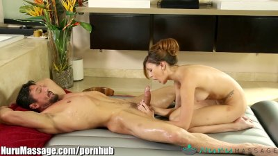 NuruMassage Ariana Marie Slides on Pervy Old Guy