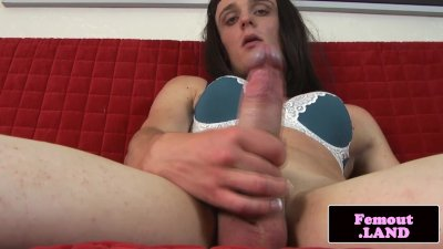 Transitioning femboy Geneve tugging cock