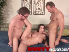 BustyNetwork Brunette with Huge Natural Titties Fucks Two Guys at Once