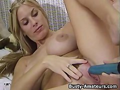 Blonde chick Mary Fox on masturbation after interview