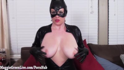 Big Titty CatWoman Maggie Green Gets Off!
