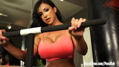 Jewels Jade works out, strips in the gym then fucks her horny self