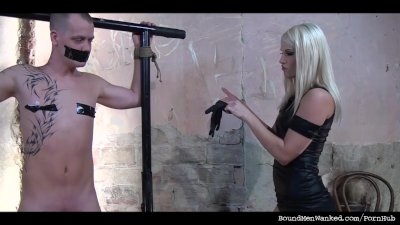 Dominant female giving bound guy a hard time and a hard one