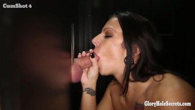Gloryhole Secrets Lylith Lavey swallows strangers cum