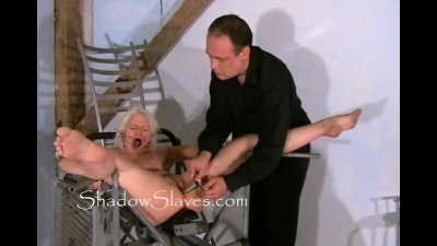 Bizarre prison camp pussy shaving of Little Miss Chaos and cunt whipping