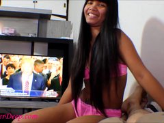 Donald Trump watche Thai teen Heather Deep give deepthroat and get creampie