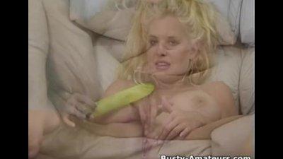 Busty Mariah Lynn strips and masturbates her pussy