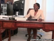 Office granny Amanda strips off and plays with her old pussy